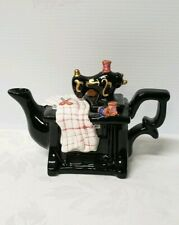 Ceramic Black Sewing Machine Teapot
