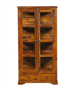 Glass Display Cabinet with 4 Shelves & 2 Drawers made from Sheesham Wood