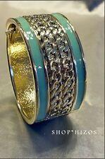 NEW ACRYLIC MINT GREEN GOLD CHAIN LINK TWIST HINGED BANGLE BRACELET