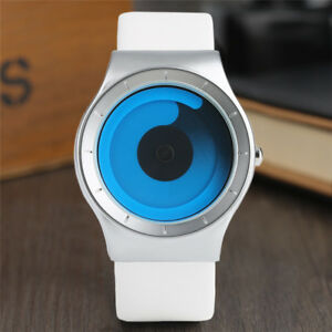 PAIDU White/Black Leather Band Analog Men Student Quartz Wrist Watch Gift