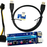 60cm USB3.0 PCI-E Express 1x To 16x Extender Riser Card Adapter SATA 6 Pin Cable