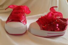 New listing Hot Pink Sequin Stepping Stones Baby RN Sneakers Glam 3-6M Tennis Lace Up Shoes