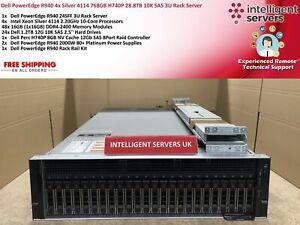 Dell PowerEdge R940 4x Silver 4114 40 core 768GB H740P 28.8TB SAS 3U Rack Server