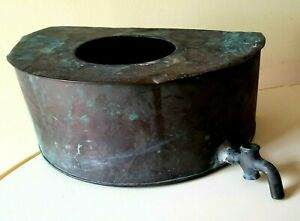 Antique Half Round Copper Wash Tub Rain Water Collector Planter (b97)