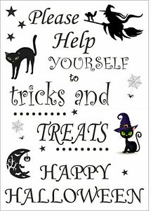 Help yourself to tricks and treats - Happy Halloween sign - Trick or treat