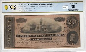 Confederate 1864 $20 PCGS Banknote Certified Error T 67 PF 10 Gutter Folds VF 30