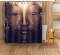 Buddha Head Retro Shower Curtain Liner Bathroom Waterproof Fabric Set Hooks 72""