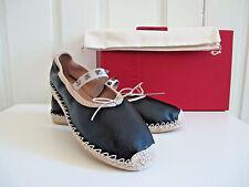 NIB $600 Valentino Rockstud Espadrille Ballet Flat Shoes Black size 39 9