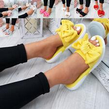 c19bbf6f4 WOMENS LADIES BOW FLAT SANDALS SLIP ON SLIDERS PEEP TOE CASUAL SHOES SIZE