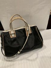 COACH F27027 BLACK LEATHER WHITE TRIM TAYLOR CROSSBODY SATCHEL