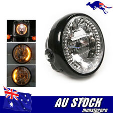 "6.5"" Motorcycle Headlight Amber LED Turn Signal Indicators For Harley Cafe Racer"
