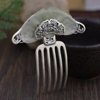 Antique Chinese Hetian Jade & 925 Sterling Silver Hairpin Hair Clasp Comb Gift