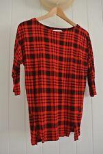 Designer Veronika Maine Womens Top SZ S Black Red Checks Lumberjack Soft 3/4