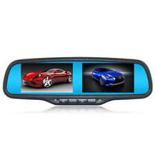 "Car Interior Rear View Mirror Built in Dual 4.3"" Monitor+Bracket 4CH Video input"