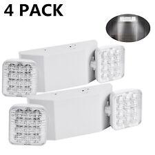 4 Pack Led Emergency Exit Light White Adjustable 2 Led Head Battery Back Up Ul