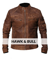 Men's Biker Brown Distressed Vintage Motorcycle Real Leather Jacket Café Racer