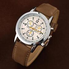 High Quality Casual Men Watch Leather Band Strap Analog Round Quartz Wrist Watch