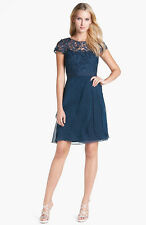 ADRIANNA PAPELL Lace & Tiered Chiffon Dress NAVY SIZE 12 #61 #223 NWT