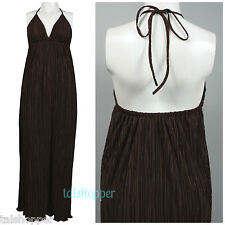 NWT 12 $169 MUSE Boston Proper Accordion Halter Pleated Boho Maxi Sun Bra Dress