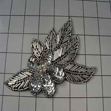 BLACK SILVER FLOWER SEQUIN BEADED APPLIQUE 2146-H