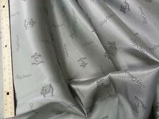 """Vintage Oleg Cassini Logo Silver Satin Lining Fabric Sold Per Yard x 44"""""""