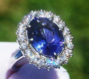 Tanzanite Ring Gold Diamond NO HEAT Natural 7.36CT GIA Certified RETAIL $15700