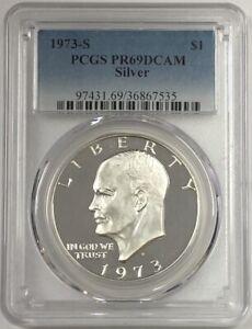 1973-S Proof Silver Eisenhower Ike Dollar PCGS PR-69 DCAM (DEEP CAMEO)