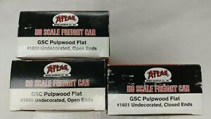Lot of 3 Atlas HO #1600/01 GSC 42' Pulpwood FlatCar Kits,Undec,Open &,Closd Ends