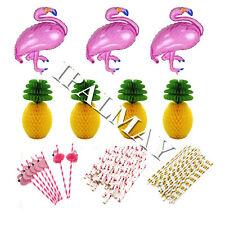 Hot Pink Foil Flamingo Balloons Paper Straws Pineapple Honeycomb Hawaiian Party