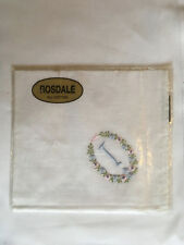 Monogrammed Handkerchief with blue letter I in floral wreath. new in packet