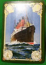 Playing Cards 1 Swap Card - Antique Wide CUNARD STEAMSHIP Shipping RMS AQUITANIA