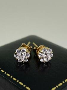Magnificent 0.80ct Diamond Cluster Daisy Studs Earrings in 18K Rose Gold. G/VS.