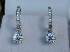 Wedding Clip-On Hoop Earrings For Gift 14K White Gold Over 2.50 Ct Round Diamond