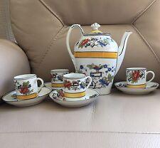 Vintage Retro Art Deco Yellow Black ? Japanese Porcelain 9 Piece Coffee Tea Set