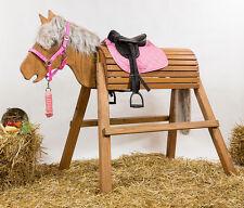 Holzpferd,Voltigierpferd,Pferd,bew.Kopf ca.115-116cm Lasur Kastanie inkl.Zubehör