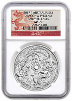 2017-P Australia 1 oz Silver Dragon & Phoenix NGC MS70 ER Dragon Label SKU44098