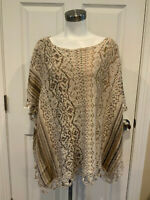 Free People Anthropologie Multicolor Metallic Poncho Sweater, Size Medium