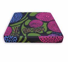 LL413t Blue Mustard Fushcia Black Green Leaf Cotton Canvas 3D Box Cushion Cover