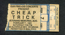 1981 Cheap Trick Concert Ticket Stub Columbus Ohio Dream Police