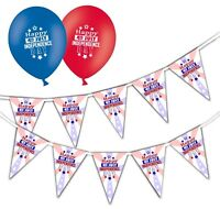 "Independence Day Happy 4th Bunting & 12"" Asst Balloons - July - pack of 20"