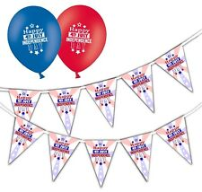 "Independence Day Happy 4th Bunting & 12"" Asst Balloons - July - pack of 25"