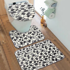 Washable 3Pcs/set Stone Pattern Cover Anti-Slip Pedestal Rug Carpet Mat Bathroom