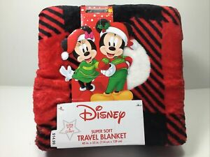 "Disney Mickey & Minnie Mouse Super Soft Travel Blanket Christmas Comfy 45""×55"""