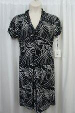 Unbranded Dress Sz L / XL Black White Multi Semi Sheer Casual Stretch Dress
