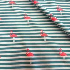 Stoff Meterware Jersey Baumwolle gestreift Flamingo petrol pink neon Meterpreis