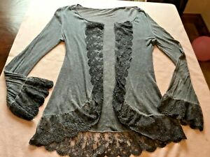 MADE IN ITALY,LAGENLOOK,BLUE/GREY LACE WATERFALL,CARDIGAN//TOP~12-14