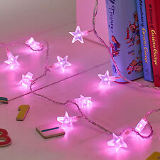 30 Pink LED Star Indoor Bedroom Christmas Fairy String Lights on Clear Cable