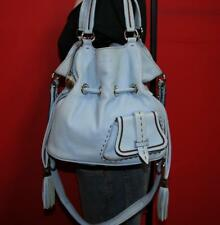 LANCEL PARIS Med Light Blue FLIRT Leather Drawstring Tote Crossbody Purse Bag