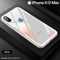 Coque Etui Cover en Verre Trempé Luxe ultra mince Premium iPhone XS MAX 6.5 Blan