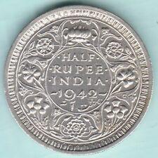 BRITISH INDIA 1942 KING GEORGE VI HALF RUPEE TOP GRADE